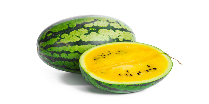 half chopped and full yellow watermelon