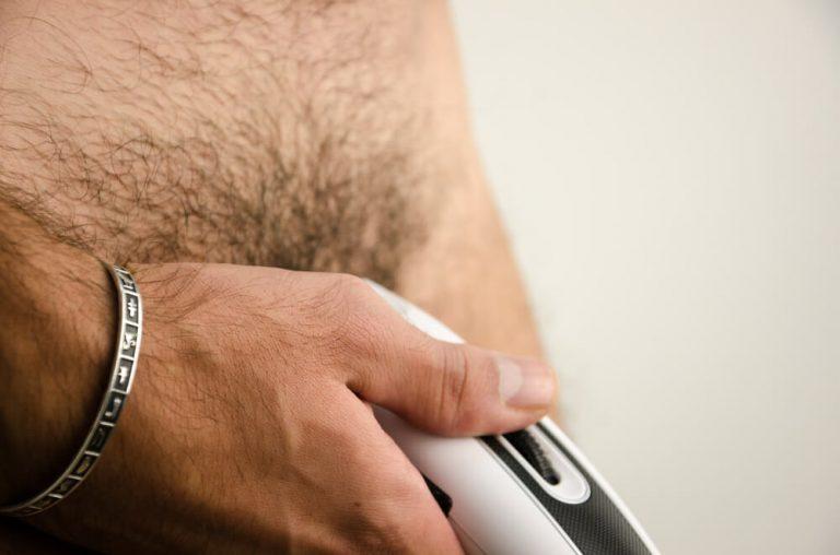 men trimming private hair