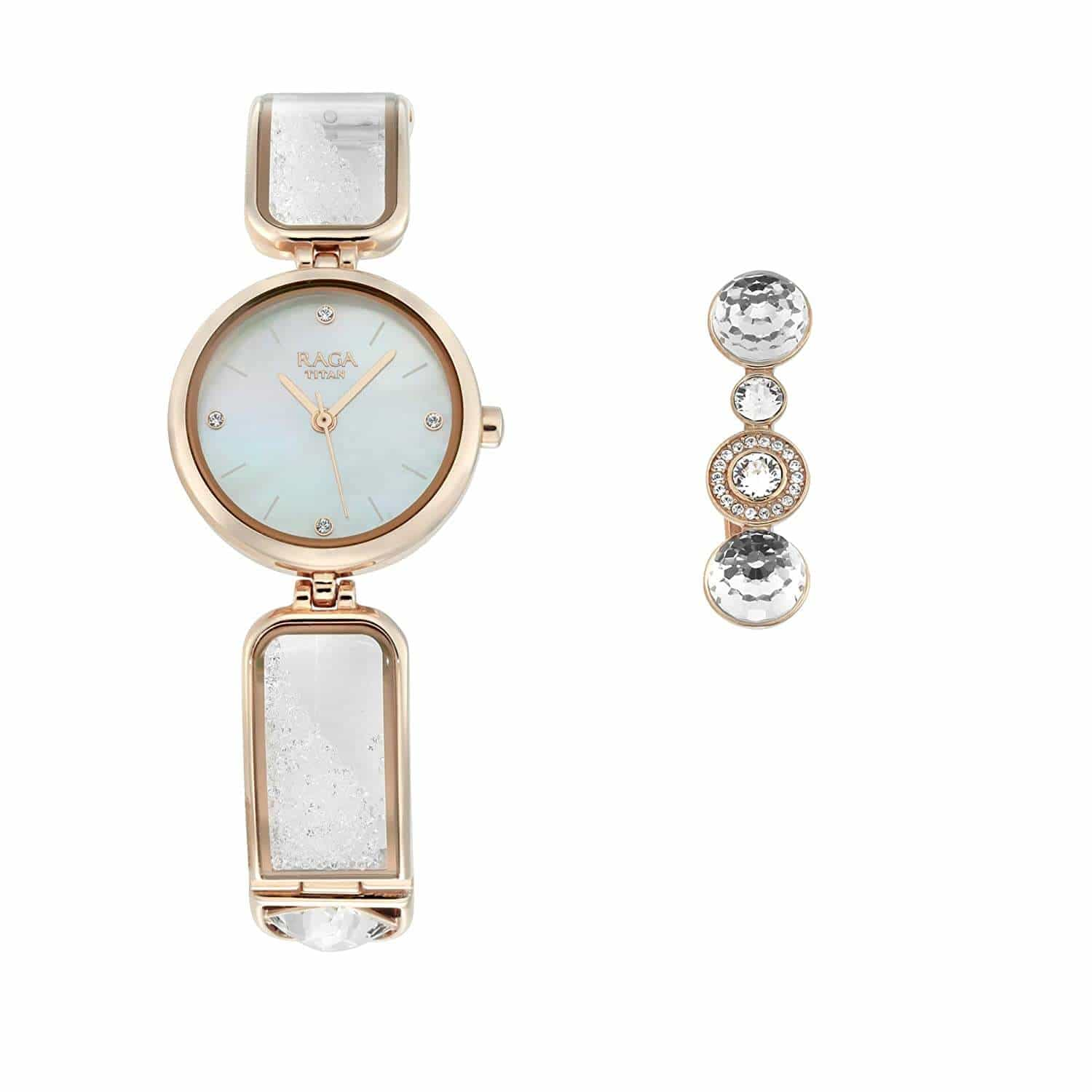 Titan Raga Cocktails Analog Mother of Pearl Dial Women's Watch-95105WM01F