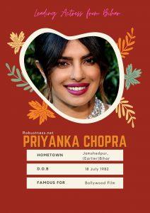 Priyanka Chopra boolywood leading actress from bihar