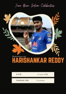 Indian cricketer Harishankar reddy born in june